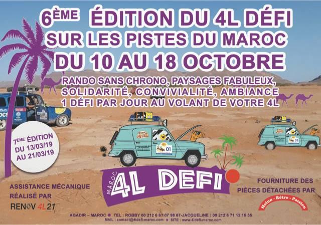 4L Défi Maroc 5° Edition 208 et 2° édition automne 2018