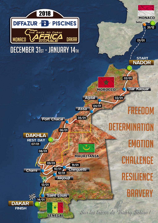 Africa Eco Race 2018 Les étapes en Mauritanie